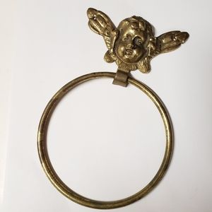 Vintage Angel Brass Metal Towel Holder Door Knock
